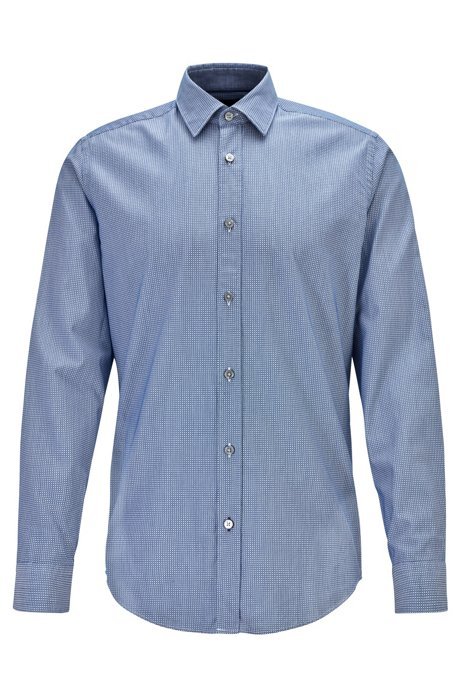Regular-fit shirt in patterned dobby cotton, Dark Blue
