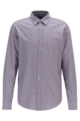Regular-fit shirt in patterned dobby cotton, Dark Purple