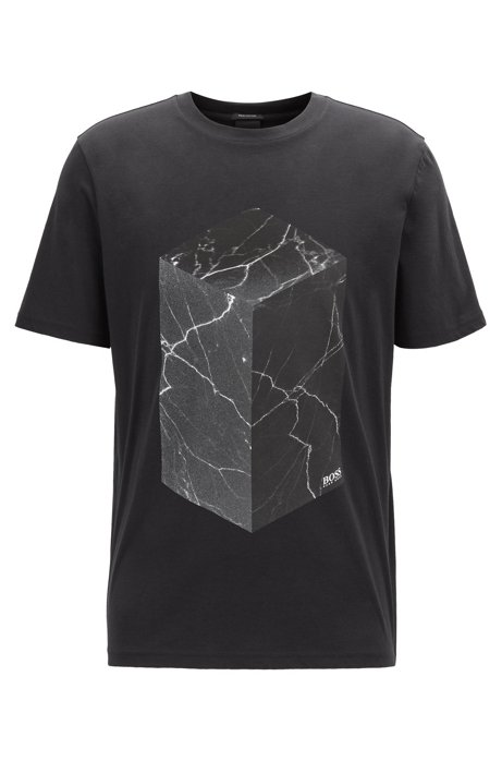 Cotton T-shirt with water-based and gel prints, Black