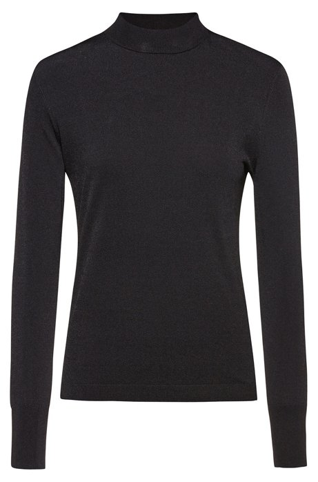 Mock-neck sweater in stretch fabric with extended cuffs, Black