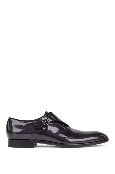 Single-monk shoes in embossed patent calf leather, Dark Grey