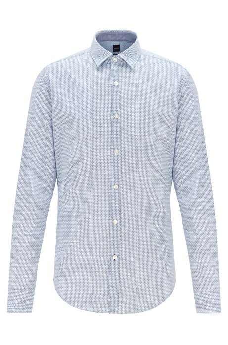 Slim-fit shirt in cotton muslin with bicycle print, Light Blue