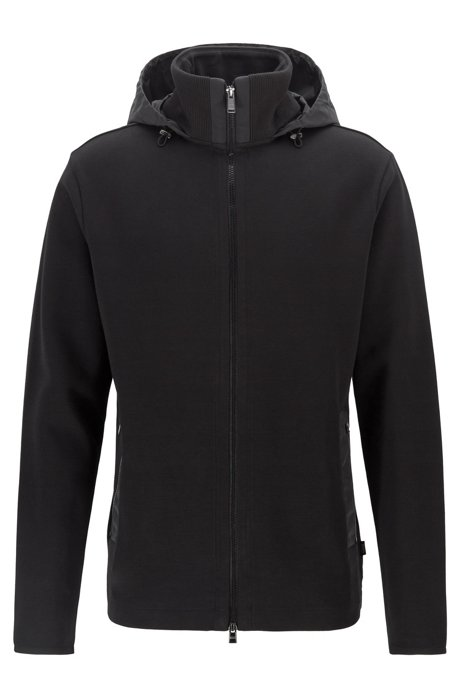 Hooded zip-through sweatshirt in a cotton blend, Black