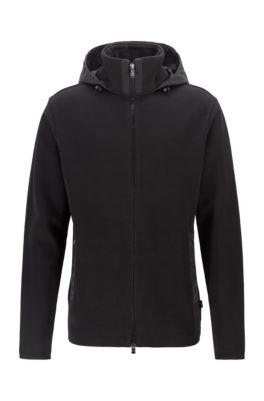 Hooded zip-through sweatshirt in a cotton blend, Black