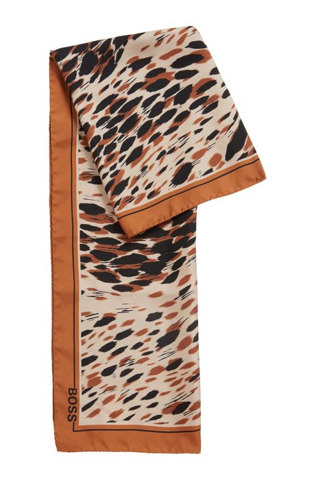Animal-print scarf in silk, Patterned