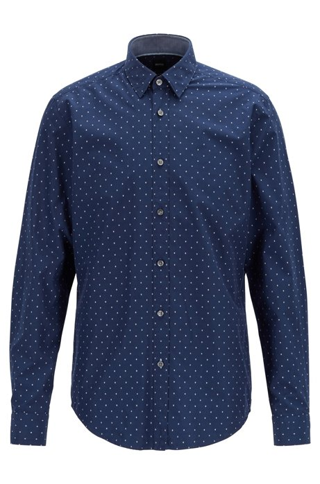 Regular-fit shirt in fil coupé cotton, Dark Blue