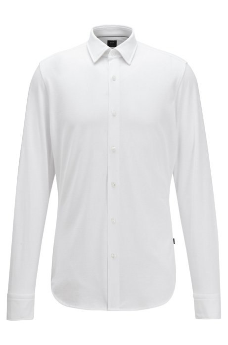 Regular-fit shirt in a cotton blend, White