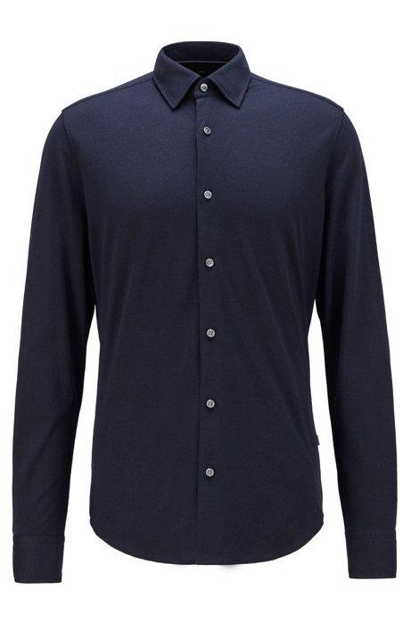 Regular-fit shirt in a cotton blend, Dark Blue