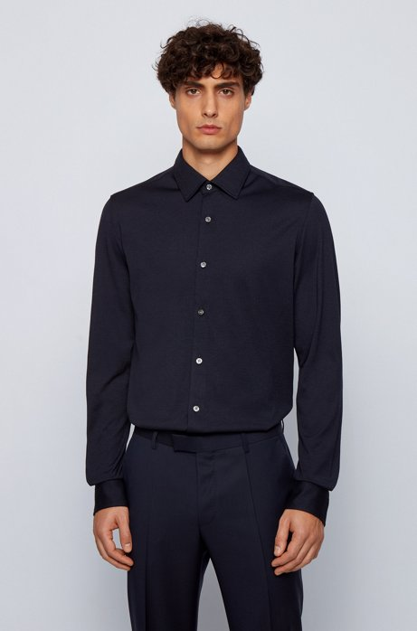 Regular-fit shirt in a cotton blend, Dark Blue