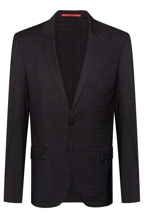 Extra-slim-fit virgin-wool jacket with windowpane check, Black