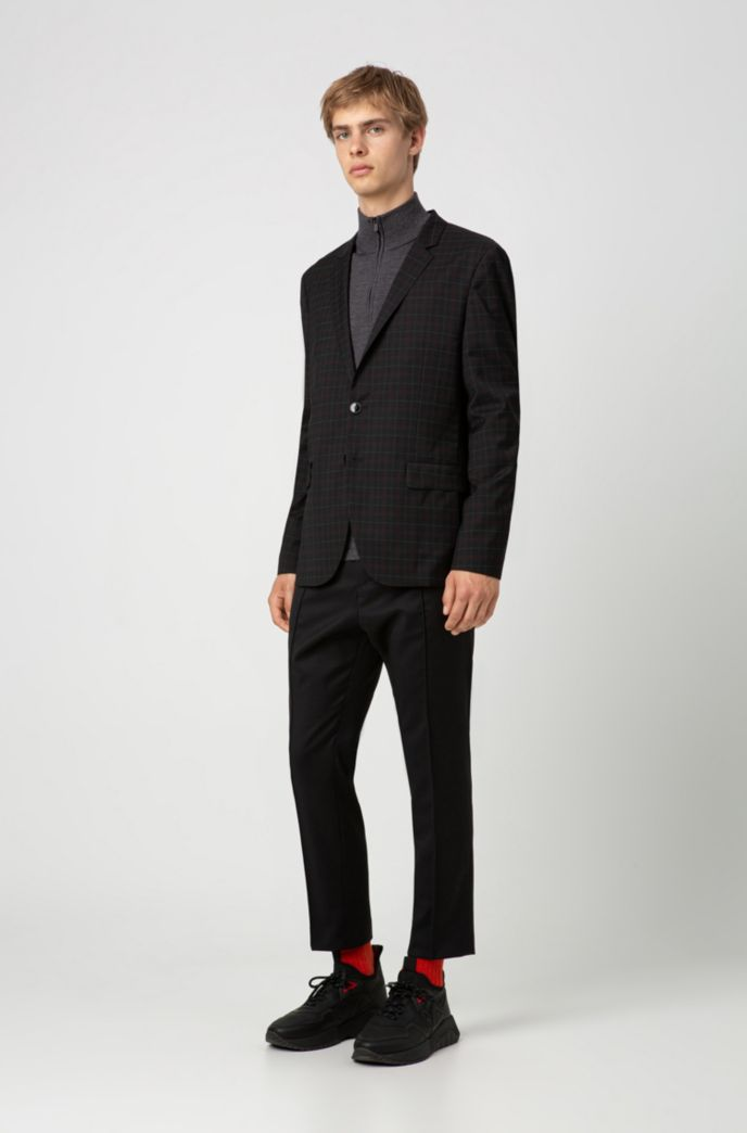 Extra-slim-fit virgin-wool jacket with windowpane check