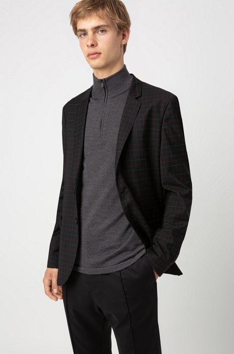 Extra-slim-fit virgin-wool jacket with windowpane check, Black