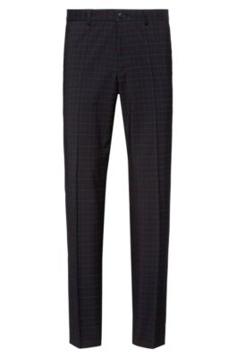 Extra-slim-fit wool pants in a multi-colored check, Black