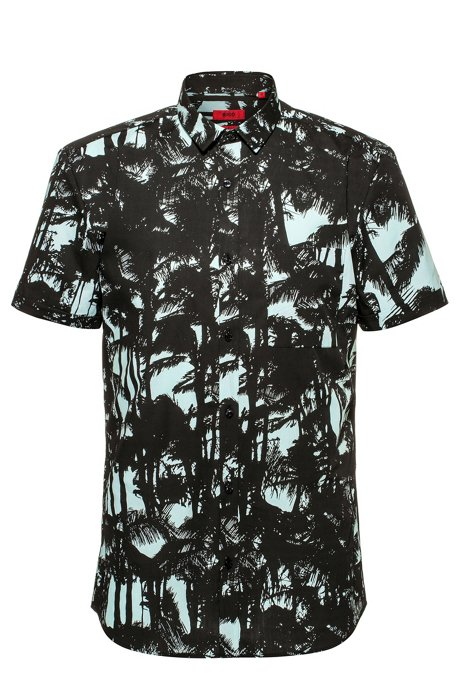 Extra-slim-fit short-sleeved shirt in printed cotton, Light Green