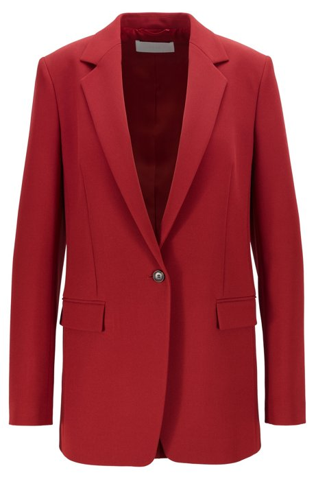 Regular-fit jacket in Portuguese twill with buttoned cuffs, Dark Red