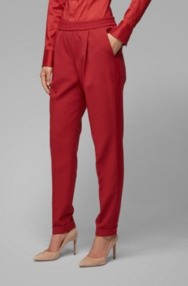 Relaxed-fit pants with elastic waist and side stripes, Dark Red