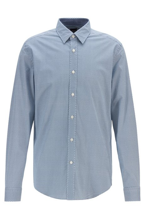 Regular-fit shirt in stretch poplin with exclusive pattern, Dark Blue