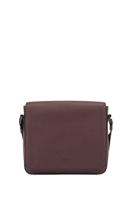 Italian-leather messenger bag with a natural grain, Dark Red