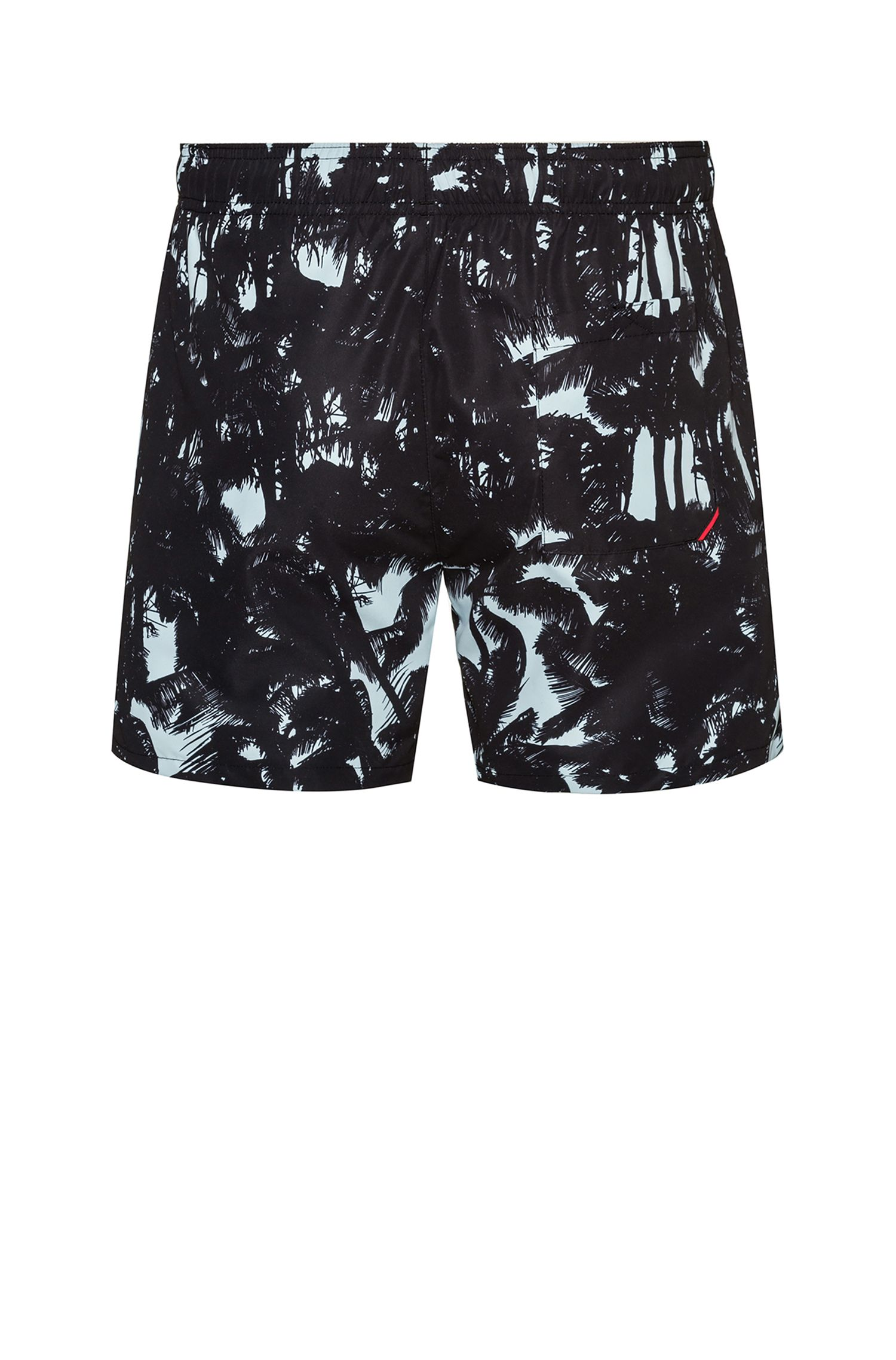 Quick-dry printed swim shorts with reversed logo, Light Green