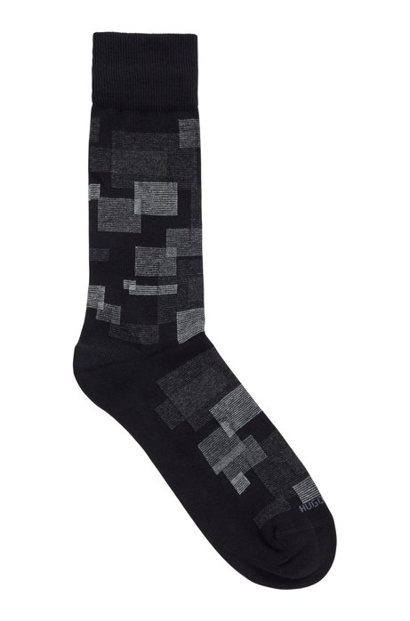 Combed BCI cotton-blend socks with geometric pattern, Black