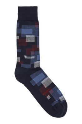 Combed BCI cotton-blend socks with geometric pattern, Dark Blue
