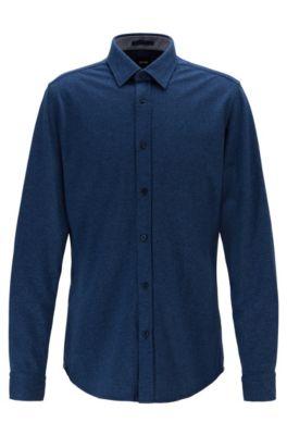 Regular-fit shirt in cotton-twill jersey, Dark Blue