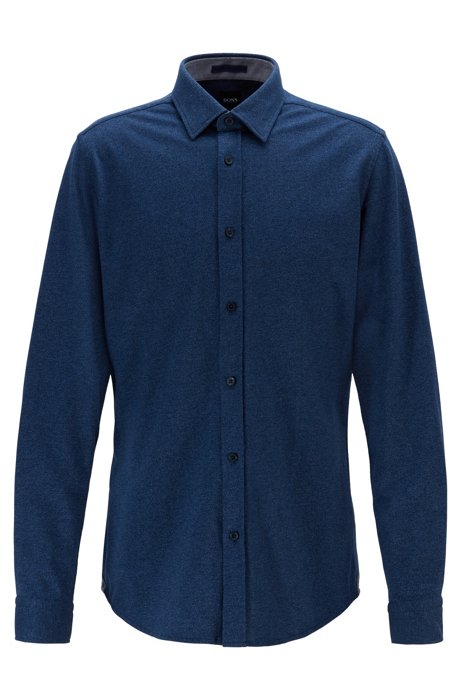 Regular-fit shirt in cotton-twill jersey, Dark Blue