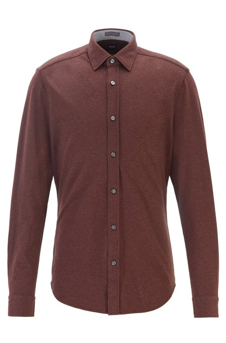 Regular-fit shirt in cotton-twill jersey, Dark Red
