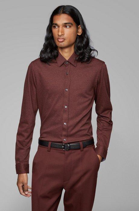 Regular-fit shirt in cotton-twill jersey, Dark Red