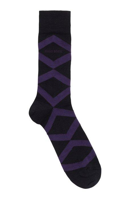 Regular-length socks with argyle pattern and logo, Black