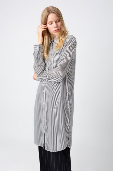 Relaxed-fit long-length blouse with side buttons, Patterned