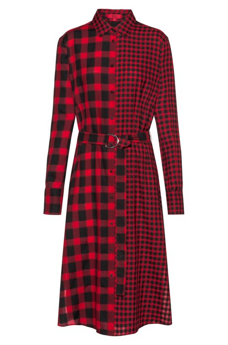 Midi shirt dress in mixed checks with D-ring belt, Patterned