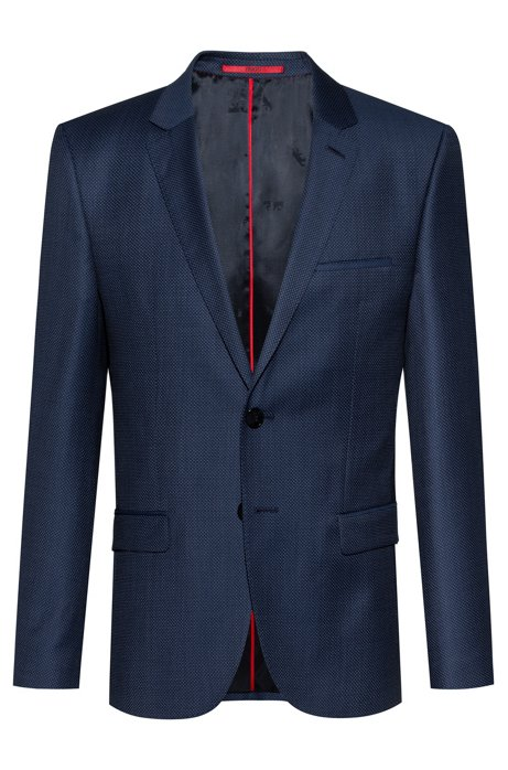 Extra-slim-fit jacket in patterned virgin wool, Blue