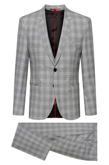 Extra-slim-fit three-piece suit in checked virgin wool, Grey