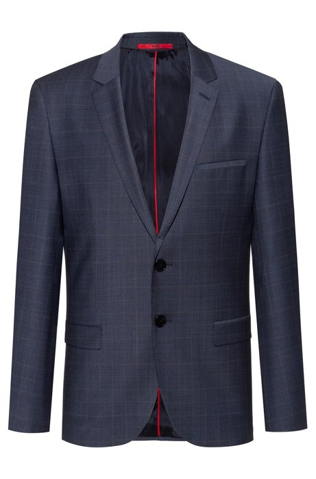 Extra-slim-fit jacket with Prince of Wales check, Dark Blue