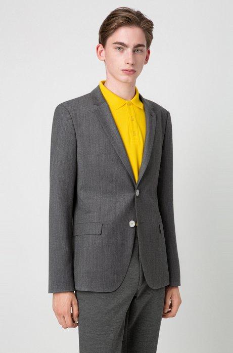 Extra-slim-fit jacket in wool flannel, Grey