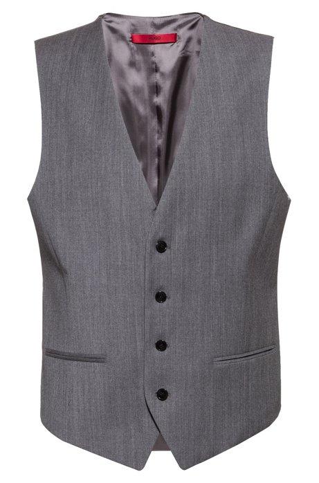 Slim-fit waistcoat in virgin-wool flannel, Grey