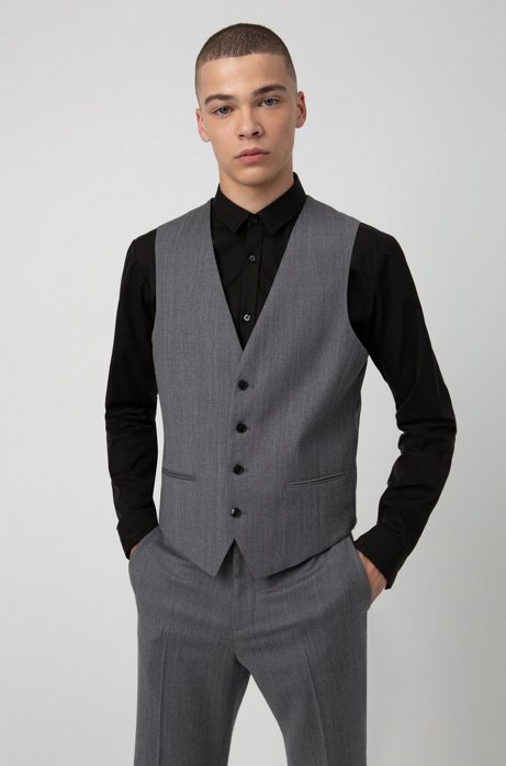 Slim-fit waistcoat in virgin-wool flannel, Grey