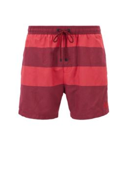 Quick-dry swim shorts with melange block stripes, Open Red