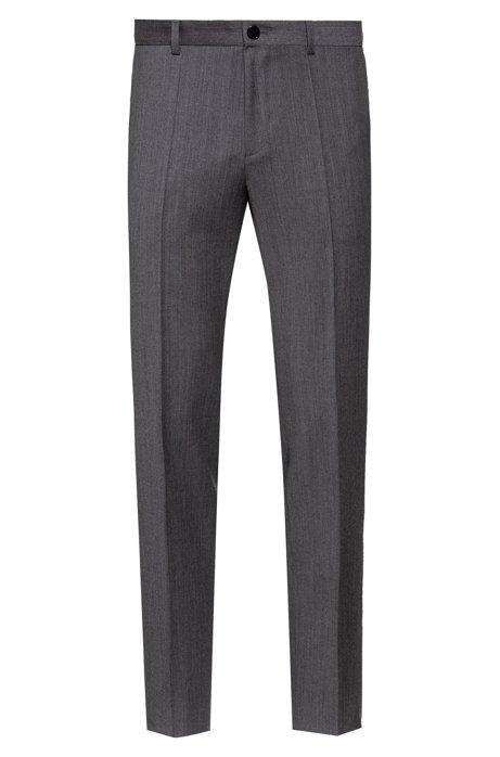 Extra-slim-fit pants in virgin-wool flannel, Grey