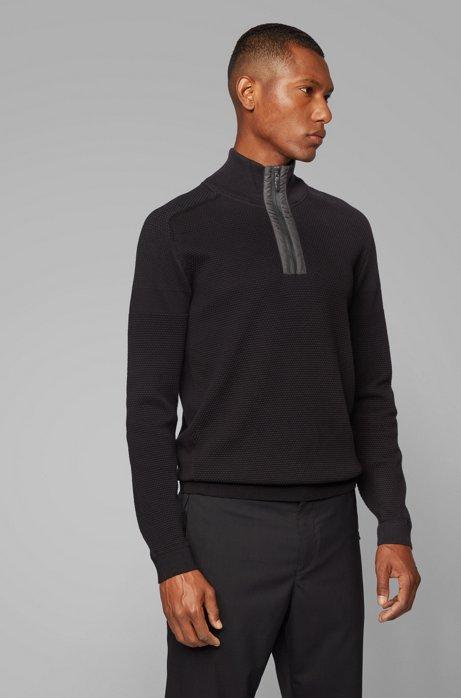 Regular-fit sweater in organic-cotton blend, Black