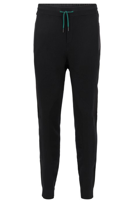 Regular-fit jogging pants in jersey with mesh structure, Black