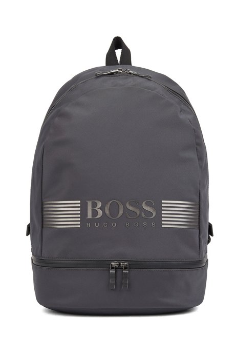 Logo backpack in structured nylon with top handle, Dark Grey