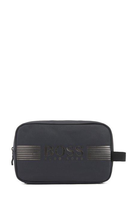 Structured-nylon washbag with metallic logo, Dark Grey