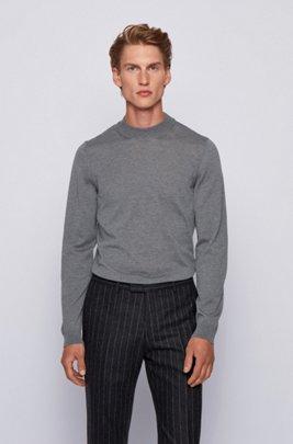 Slim-fit sweater in virgin wool with mock neck, Grey