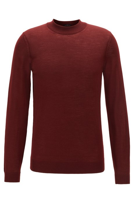 Slim-fit sweater in virgin wool with mock neck, Dark Red