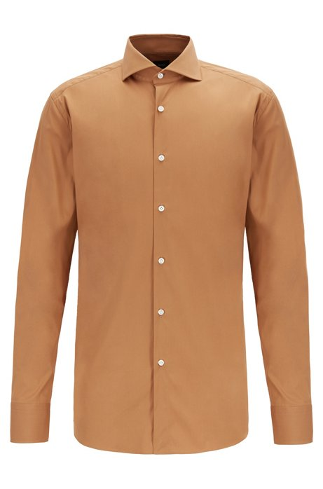 Slim-fit shirt in cotton-rich poplin, Beige