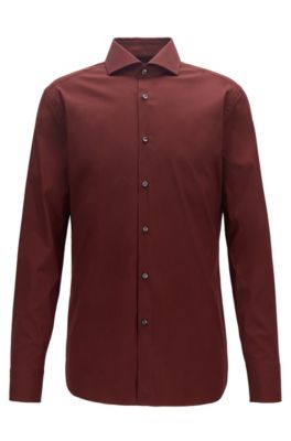 Slim-fit shirt in cotton-rich poplin, Dark Red