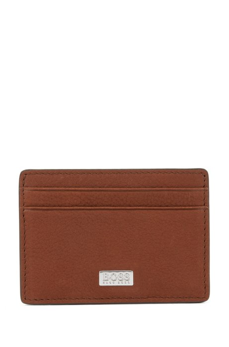 Money clip in grained Italian leather with card slots, Light Brown
