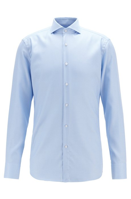 Slim-fit shirt in crease-resistant structured cotton, Light Blue